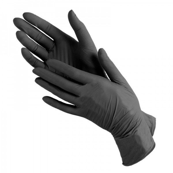 Перчатки нитриловинил (черные) Wally Plastic р.М 50пар/уп