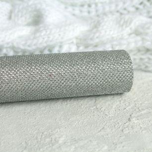 Экокожа для кукольных ботиночек, с блестками, серебро 30х20 см.