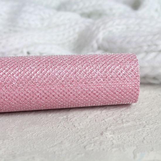 Экокожа для кукольных ботиночек, с блестками, розовая 30х20 см.