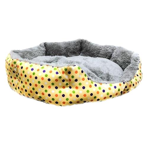 Круглый меховой лежак для кошек и собак. Цвет: желтый.