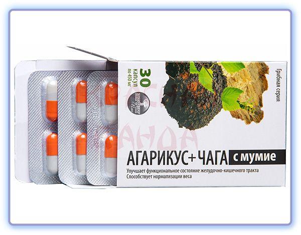 Алфит Плюс Грибная серия Агарикус + Чага с мумие