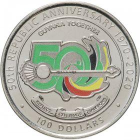 50 лет Кооперативной Республике Гайана  100 долларов 2020 Гайана