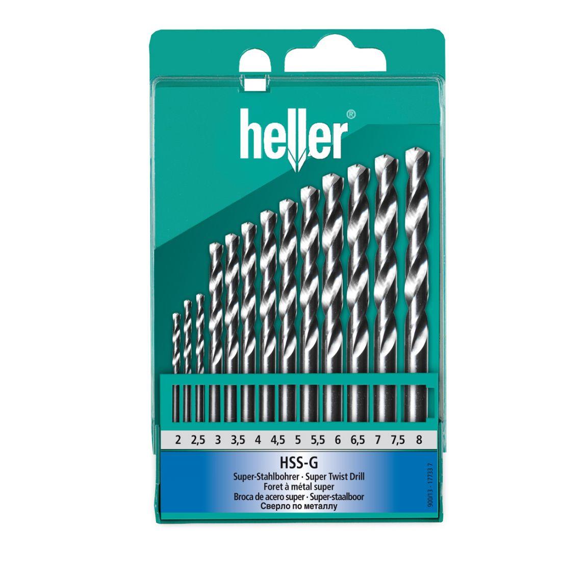 Набор сверл Heller по металлу Heller НSS-G Super DIN 338 RN 2/2.5/3/3.5…7/7.5/8 (13 пр)