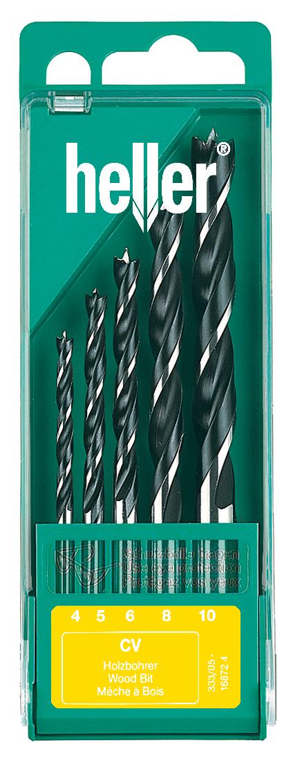 Набор спиральных свёрл Heller CV по дереву (4,5,6,8,10 мм) (5 пр.)