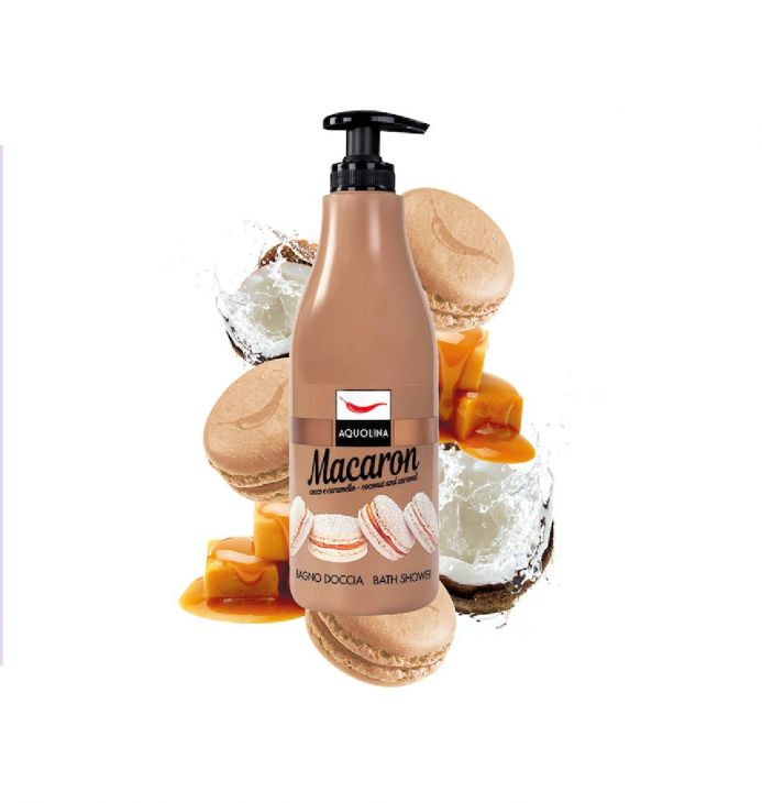 AQUOLINA macaron гель для душа с кокосом и карамелью 500 мл