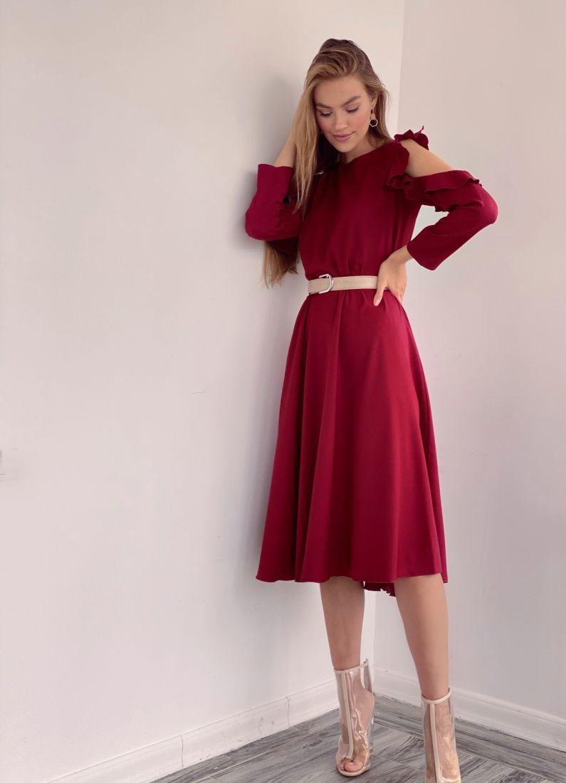 3452 Платье из микрошифона с открытыми плечами бордовое