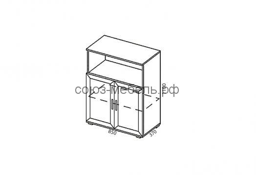 Офисная мебель Триумф (тумба ТБ+тумба ТН+тумба ТБ+шкаф стеклянный ШС+шкаф угловой Ш-УГ+угол УГ+стол СТ-0,8+стол СП-0,7+стол СТ-1,6+тумба ТЯ)