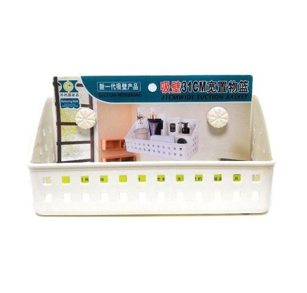 Полка для ванных принадлежностей на вакуумных присосках, 31х12х14 см