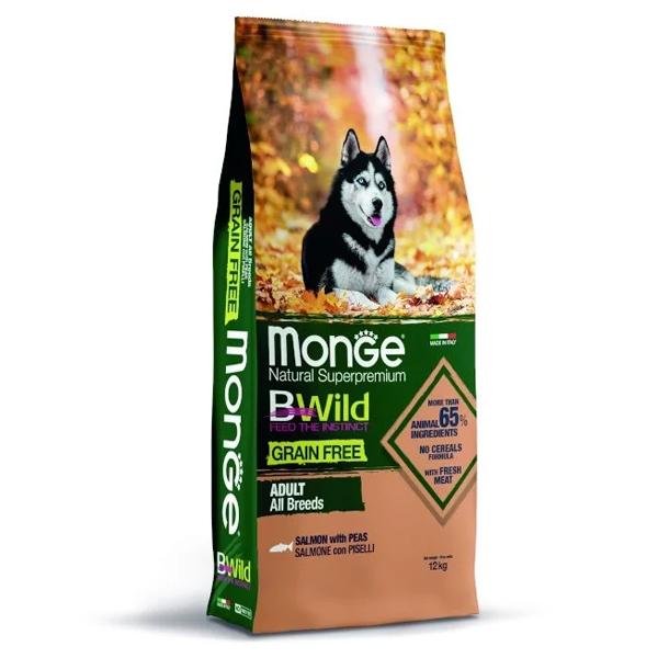 Сухой корм для собак Monge BWILD Feed the Instinct беззерновой гипоаллергенный с лососем и горошком 12 кг