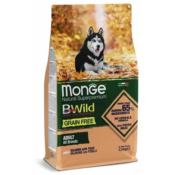 Сухой корм для собак Monge BWILD Feed the Instinct беззерновой гипоаллергенный с лососем и горошком 2.5 кг