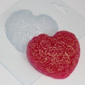 Пластиковая форма для мыла и шоколада Сердце из роз