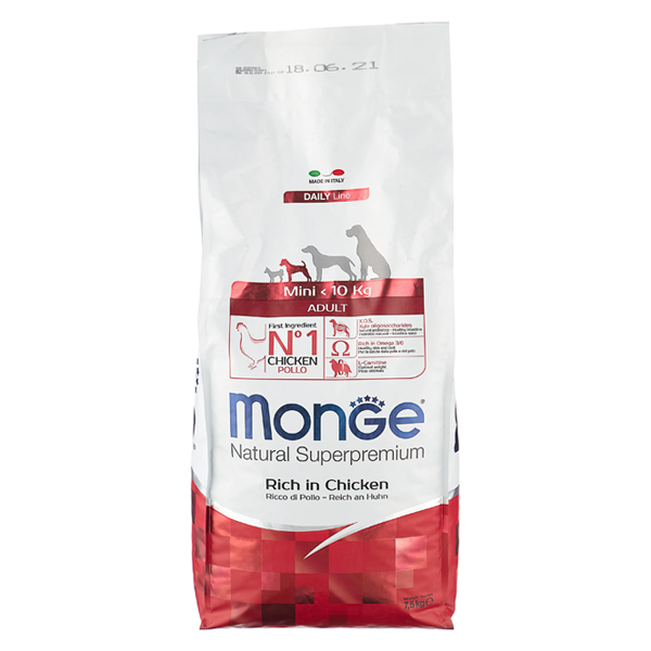 Сухой корм для собак мелких пород Monge Daily Line Mini курица 7.5 кг
