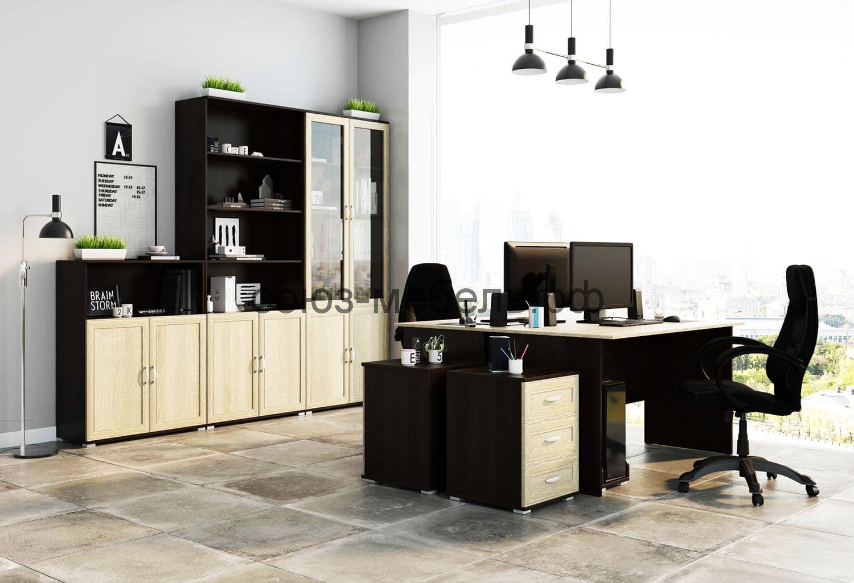 Офисная мебель Триумф (тумба ТН+шкаф открытый ШО+шкаф стеклянный ШС+тумба ТЯ+стол СТ-1,4+тумба ТЯ+стол СТ-1,4+подставка ПК)