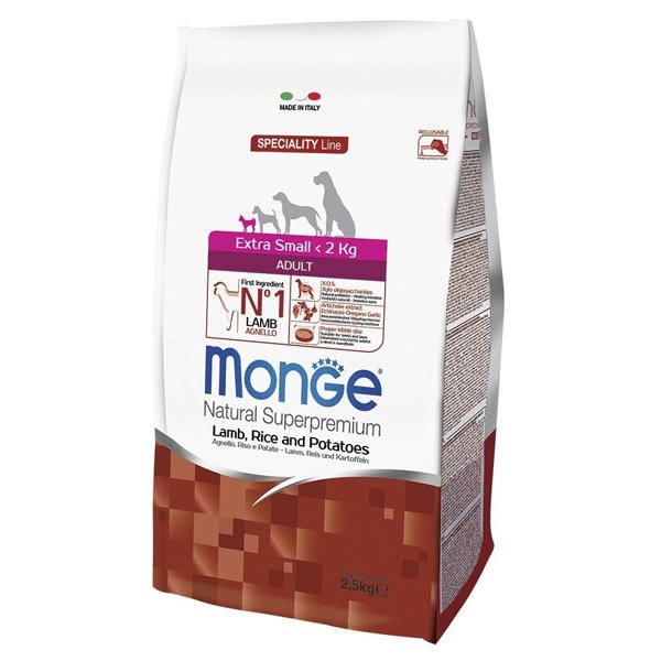 Сухой корм для собак карликовых пород Monge Daily Line Extra Small ягненком рисом и картофелем 2.5 кг