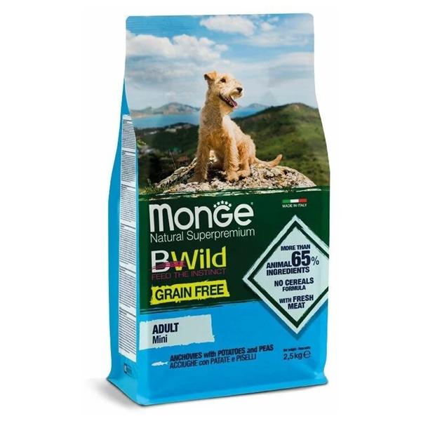 Сухой корм для собак мелких пород Monge BWILD Feed the Instinct беззерновой с анчоусом картофелем и горошком 2.5 кг