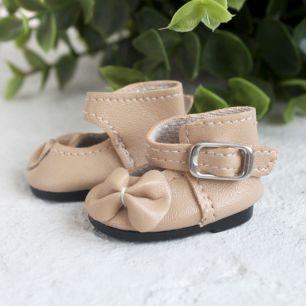 Обувь для кукол - Сандалии высокие с бантиком бежевые, 4 см.