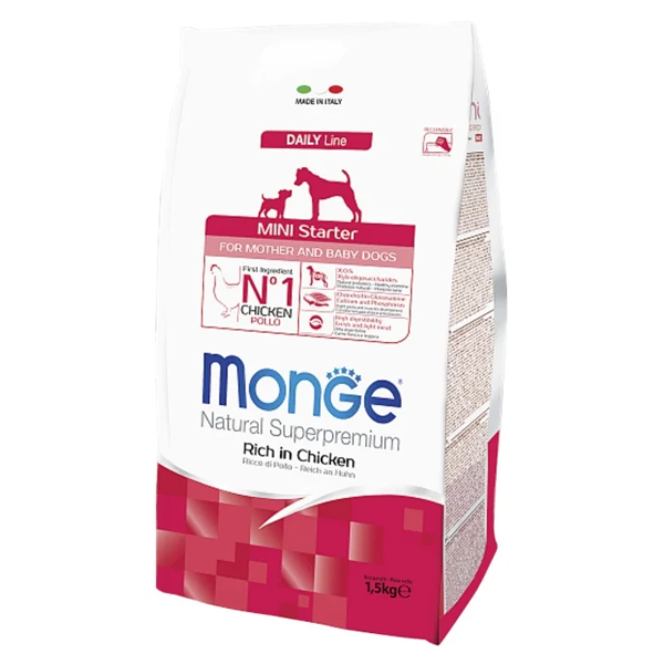 Сухой корм для щенков мелких пород Monge Daily Line Mini Starter с курицей 1.5 кг