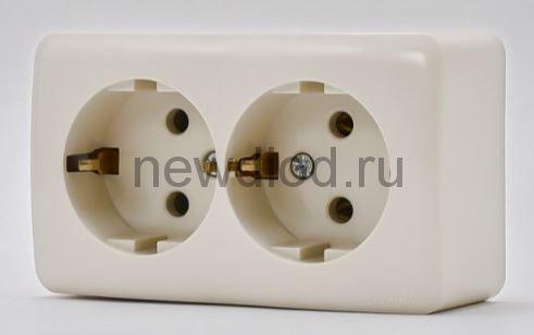 VIOLA Розетка двойная с/з закрытый корпус керамика крем накладная Lezard (12шт/144шт)