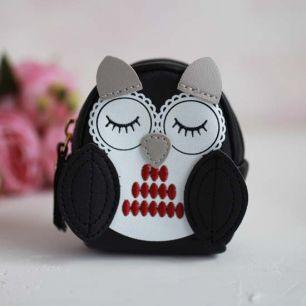 Рюкзак для куклы, Совушка, черный, 10 см.