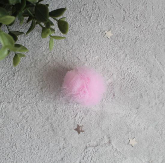 Кукольная миниатюра - Помпон из фатина Розовый, 3.5 см.