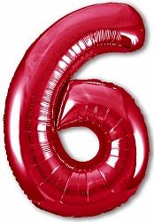 Шар (40''/102 см) Цифра, 6 Slim, Красный, 1 шт. в упак.