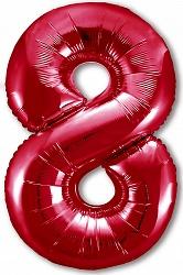 Шар (40''/102 см) Цифра, 8 Slim, Красный, 1 шт. в упак.