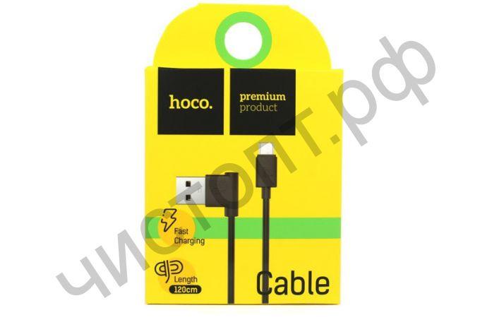 Кабель USB - микро USB HOCO UPM10 , 1.2м, круглый, 2.1A, силикон, боковой, цвет: чёрный