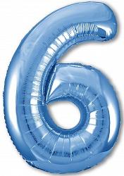 Шар (40''/102 см) Цифра, 6 Slim, Синий, 1 шт. в упак.