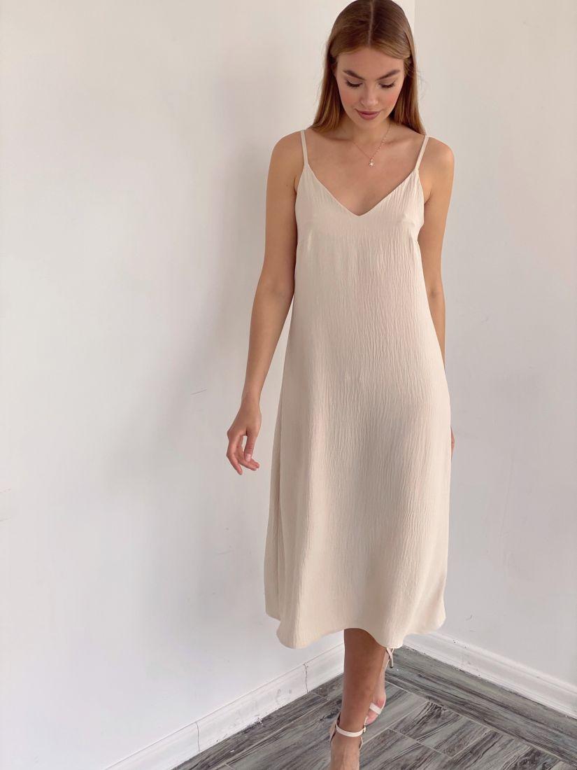 4124 Платье-комбинация из жатого хлопка в цвете слоновой кости