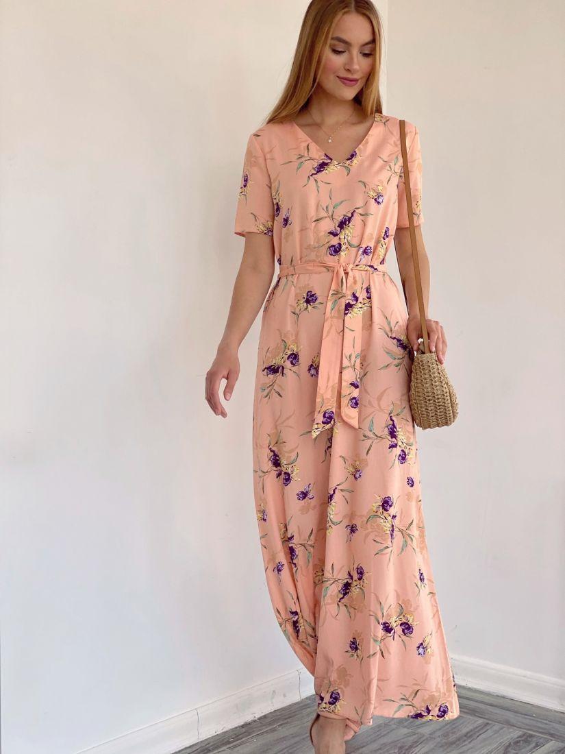 4125 Платье-трапеция в длине 7/8 с фиолетовыми цветами