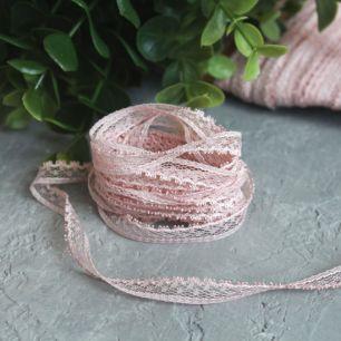Тесьма кружевная - пыльная роза 8 мм.