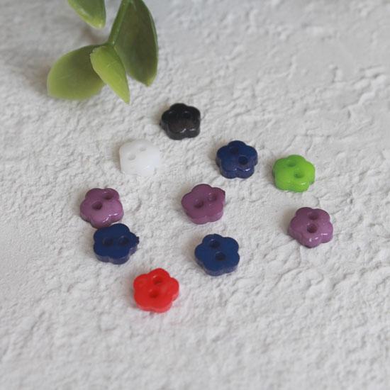 Набор мини пуговиц для творчества - Цветочки, разноцветный микс, 10 шт., 6 мм.