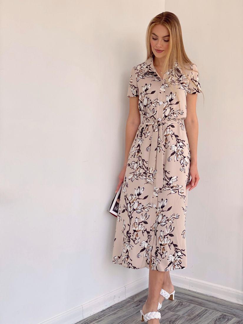 4131 Платье-рубашка бежевое с цветами