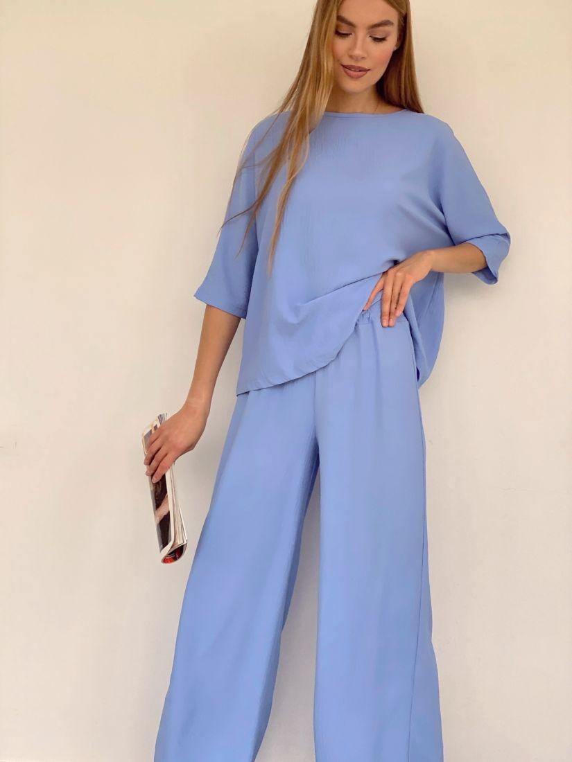 4141 Костюм из хлопка в пижамном стиле голубой