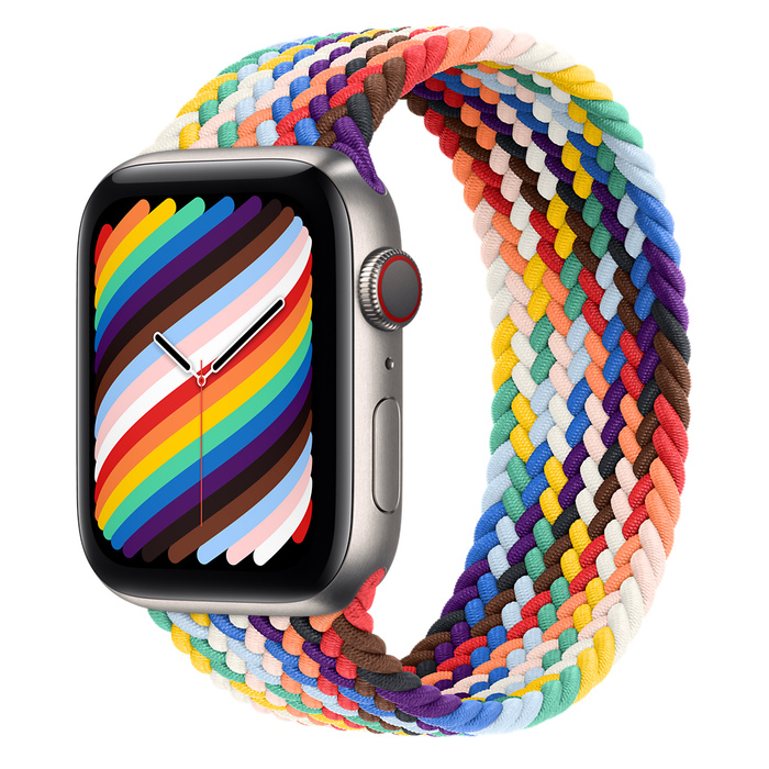 Часы Apple Watch Edition Series 6 GPS + Cellular 44mm Titanium Case with Pride Edition Braided Solo Loop