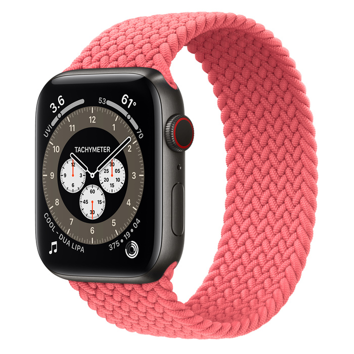 Часы Apple Watch Edition Series 6 GPS + Cellular 44mm Space Black Titanium Case with Pink Punch Braided Solo Loop