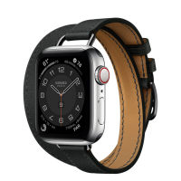 Часы Apple Watch Hermès Series 6 GPS + Cellular 40mm Silver Stainless Steel Case with Noir Swift Leather Attelage Double Tour