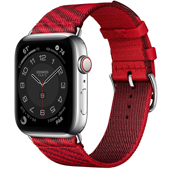 Часы Apple Watch Hermès Series 6 GPS + Cellular 44mm Silver Stainless Steel Case with Rouge de Cœur/Rouge H Jumping Single Tour