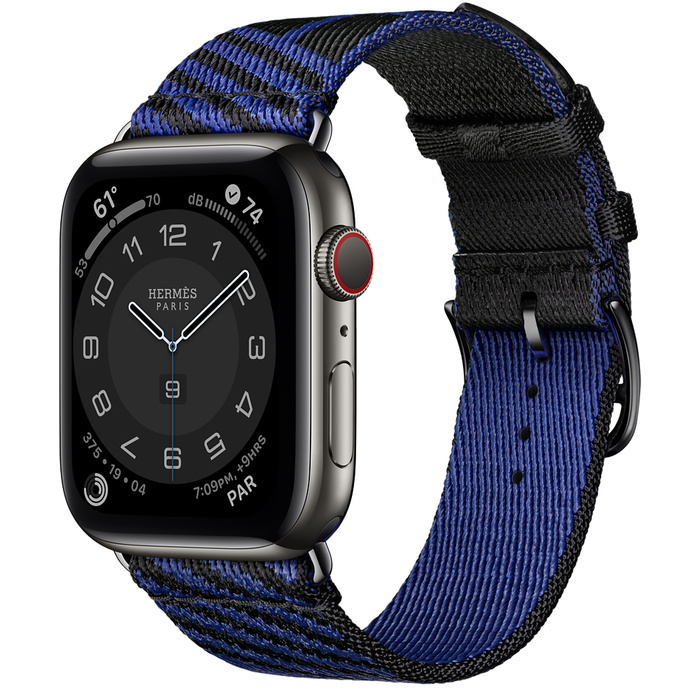 Часы Apple Watch Hermès Series 6 GPS + Cellular 44mm Space Black Stainless Steel Case with Noir/Bleu Saphir Jumping Single Tour