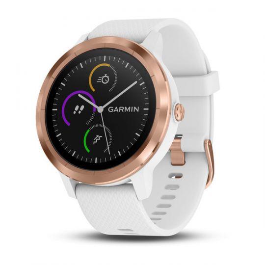 Часы Garmin Vivoactive 3 золотистые с белым ремешком