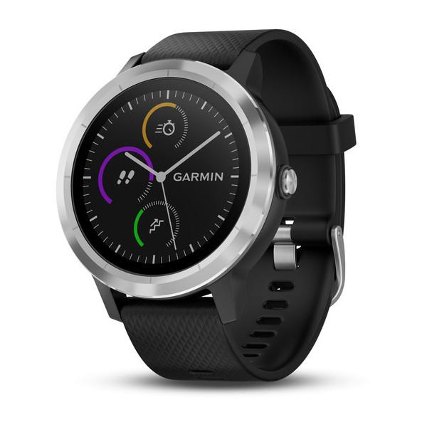 Часы Garmin Vivoactive 3 серебристые с черным ремешком