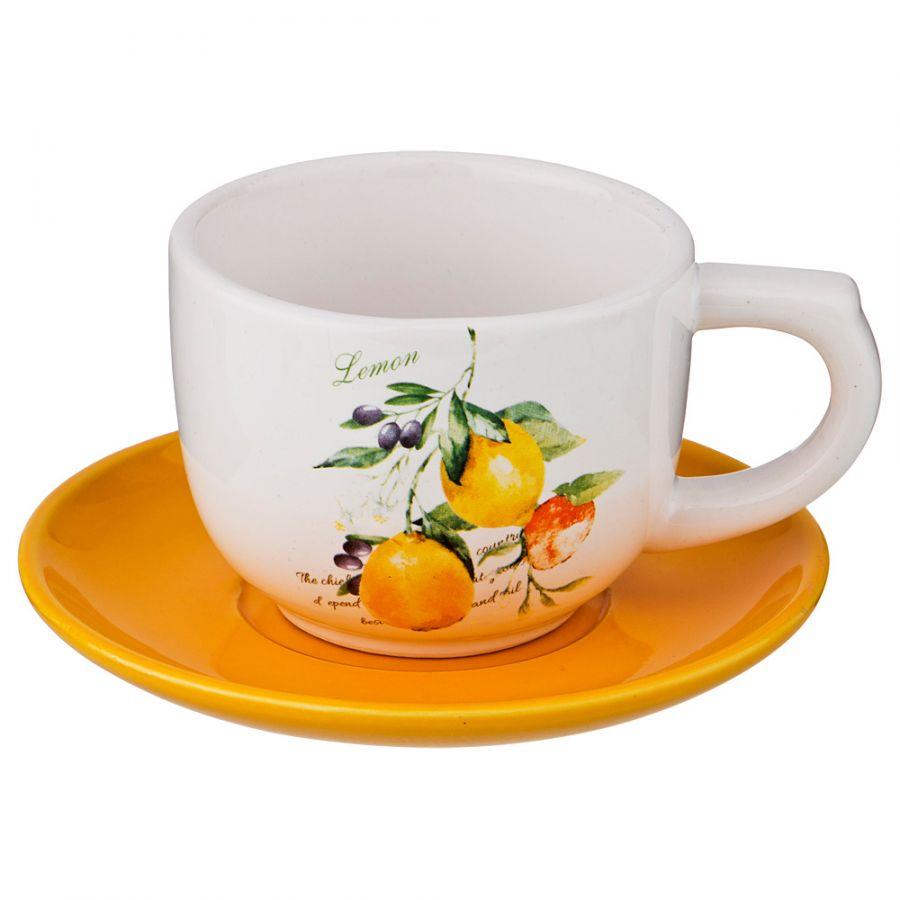 """Чайный набор на 1 персону """"Итальянские Лимоны"""", 2 пр., 210 мл"""