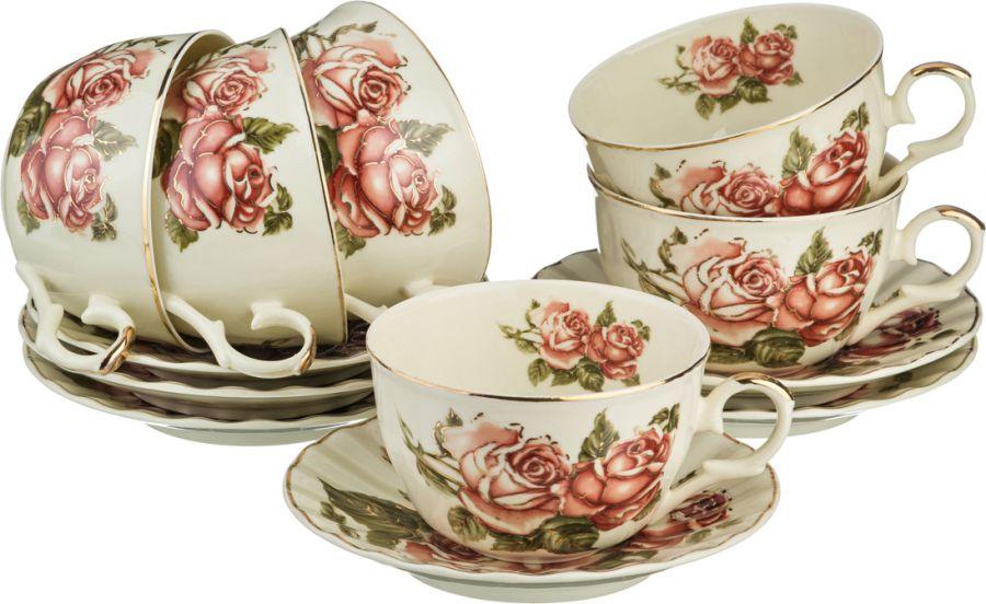 """Чайный набор на 6 персон """"Корейская Роза"""", 12 пр., 250 мл"""