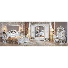 Спальня МАРЕЛЛА 1,8 6-дверный шкаф белый/золото/кожзам