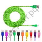 Кабель USB 2.0 Aм вилка(папа)--микро B(microUSB) вилка(папа) 1м плетеный OT-SMM03 удлиненн. штекер микро