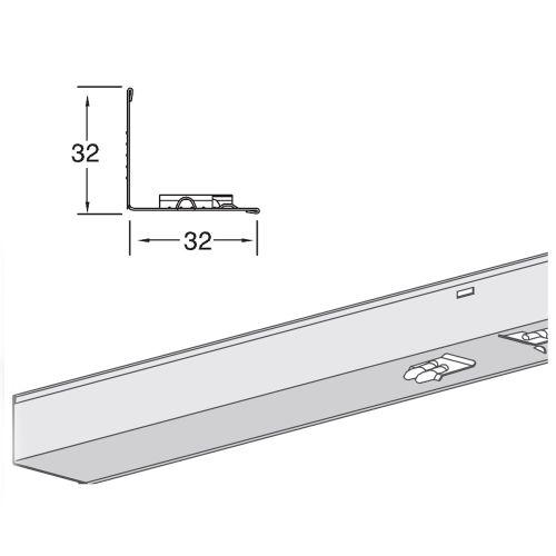 Пристенный молдинг Armstrong DGS с фиксацией для коридорных реек, 3600х30х30 мм (в коробке 72 пог.м)