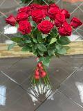 Букет из 15 роз эквадорских красных без упаковки