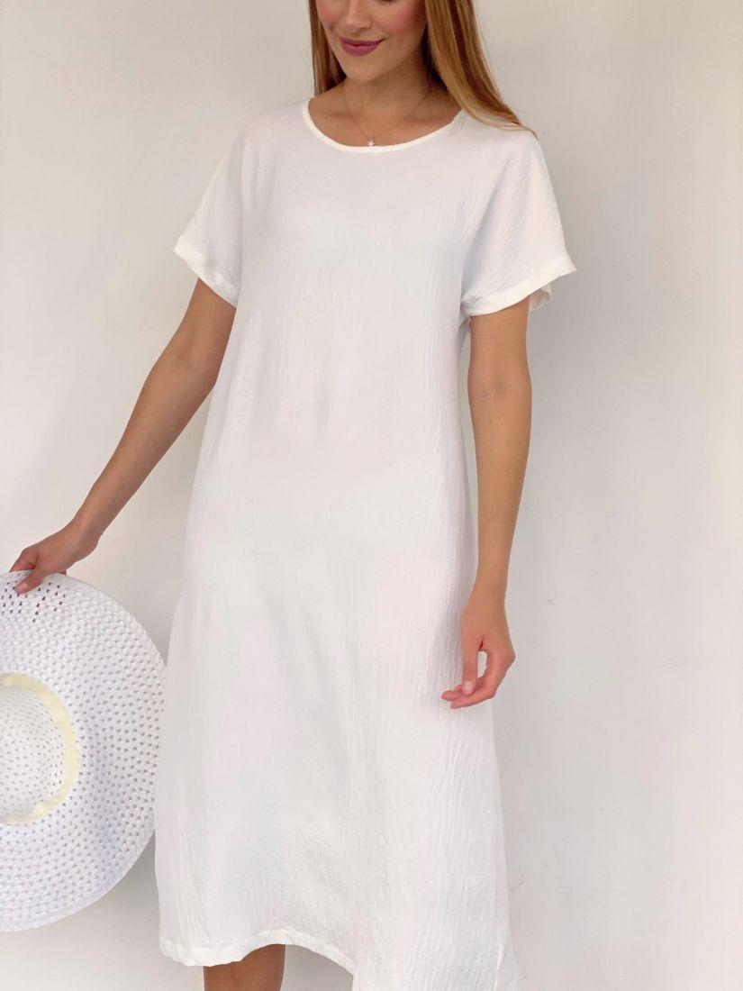 4154 Платье из хлопка белое