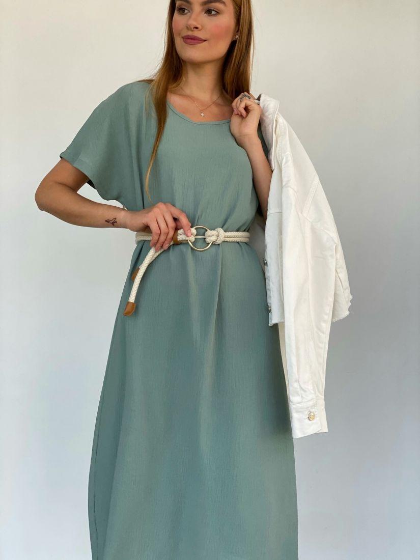 4155 Платье из хлопка фисташковое