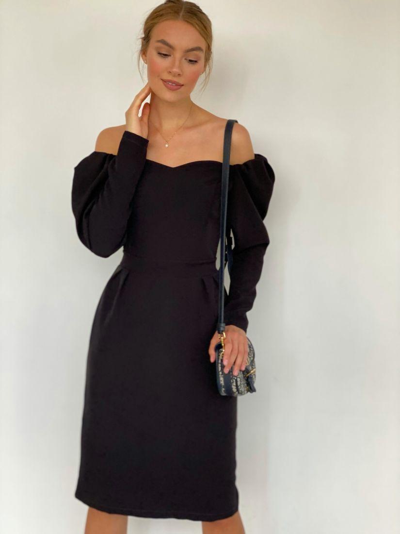 """3227 Платье чёрное с открытыми плечами в длине """"миди"""""""